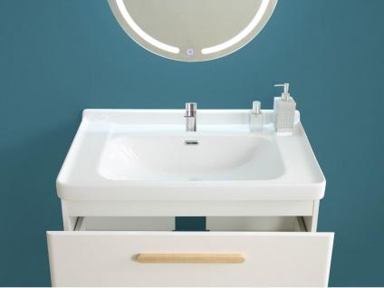 Komplettbad VATINE - Unterschrank + Waschbecken + Spiegel - Weiß - Vorschau 3