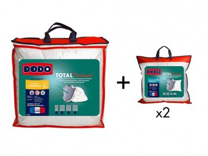 Sparset DODO: Bettdecke für milde Temperaturen 220 x 240 cm + 2 Kopfkissen TOTAL PROTECT 60 x 60 cm
