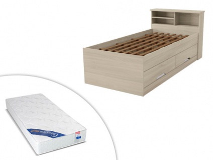 Set Bett mit Bettkasten BORIS + Lattenrost + Matratze - 90x190cm - Eichenholzfarben