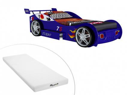Set Kinderbett Spielbett RUNNER + Lattenrost + Matratze - 90x200 cm - Blau