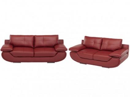 Ledergarnitur Orgullosa 3+2 - Luxusleder - Rot