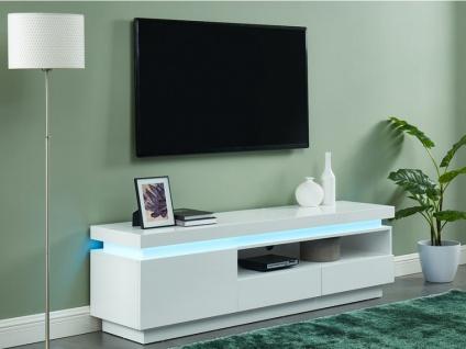 TV-Möbel mit LED-Beleuchtung EMERSON - 1 Tür & 2 Schubladen - Holz (MDF) - Weiß