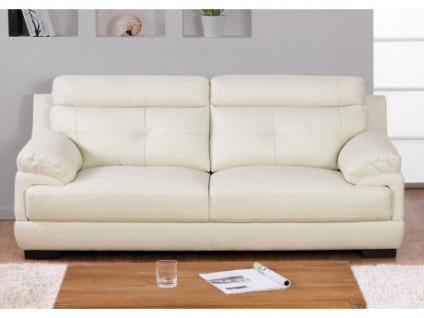 Ledersofa 3-Sitzer Manuela - Elfenbein-Weiß