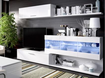 TV-Möbel TV-Wand mit Stauraum & LED-Beleuchtung LUGANO - Weiß