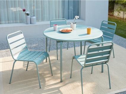 Garten Essgruppe MIRMANDE - Tisch D. 110 cm & 4 Stühle - Grün