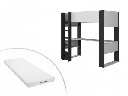 Set Hochbett mit Schreibtisch NOAH + Matratze - 90x200cm - Weiß & Anthrazit