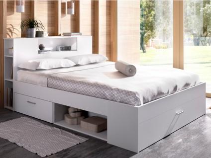 Bett mit Stauraum & Schubladen LEANDRE - 160x200 cm - Weiß