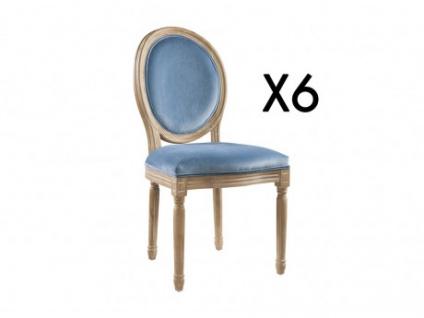 Stuhl 6er-Set Samt LOUIS XVI - Blau