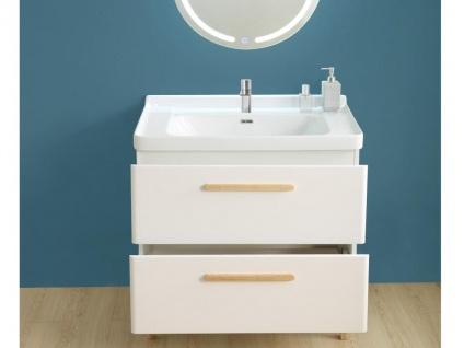 Komplettbad VATINE - Unterschrank + Waschbecken + Spiegel - Weiß - Vorschau 2