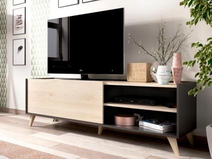 TV-Möbel KOLYMA - 1 Tür & 2 Ablagen - Eiche & Anthrazit