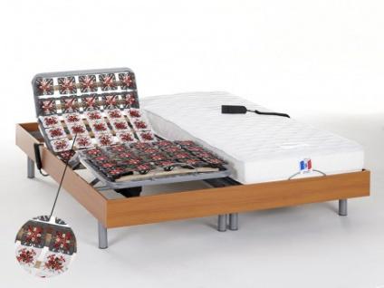 Matratzen elektrischer Lattenrost 2er-Set mit Okin-Motor Homere III - Kirschholzfarben - 2x 80x200 cm