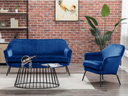 Sofa-Garnitur 2+1 OULAN - Samt - Dunkelblau