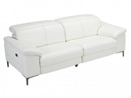 Relaxsofa 3-Sitzer Leder elektrisch YORO - Weiß