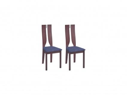 Stuhl 2er-Set SILVIA - Buche massiv - Nussbaumfarben & Grau
