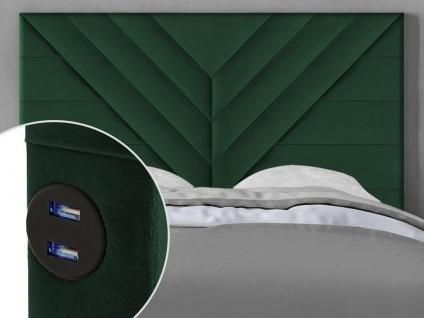 Bett-Kopfteil mit USB-Anschlüssen HOLDA - 140 cm - Samt - Grün