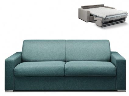 Schlafsofa 4-Sitzer Stoff CALITO - Blau - Liegefläche: 160 cm - Matratzenhöhe: 14cm