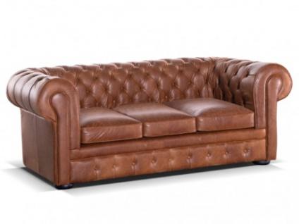 Chesterfield Ledersofa 3-Sitzer Schlafsofa mit Matratze London - Vintage Look