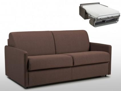 Schlafsofa 3-Sitzer Stoff CALIFE - Braun - Liegefläche: 140 cm - Matratzenhöhe: 22cm