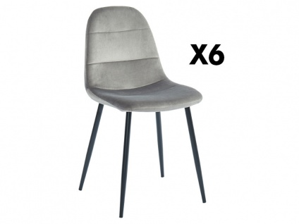 Stuhl 6er-Set BENJI - Samtoptik - Grau