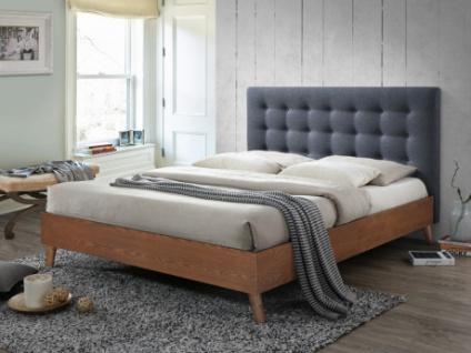 Holzbett mit Kopfteil FRANCESCO - 140x190cm - Grau