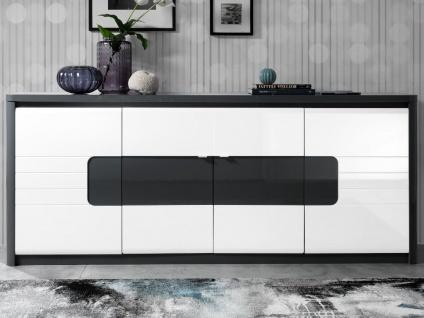 Sideboard mit LED-Beleuchtung PERCEPTION - 4 Türen - Grau & Weiß