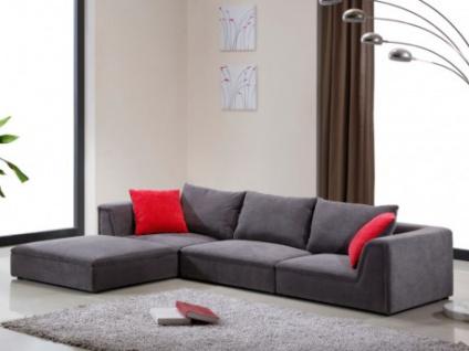 Ecksofa Stoff Houston - Niedrige Sitzhöhe: 24 cm - Grau - Vorschau 1