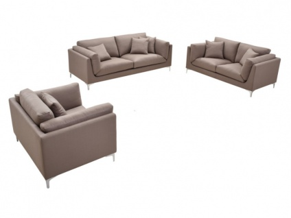 Couchgarnitur Stoff 3+2+1 FLAKE - Taupe