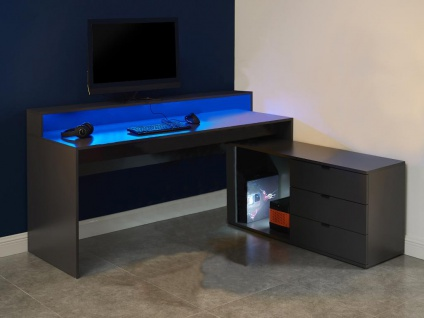 Gaming-Eckschreibtisch mit Stauraum & LED-Beleuchtung NEHA - Grau