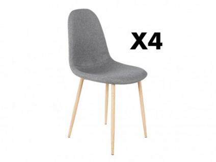 Stuhl 4er-Set Stoff EFFIE - Eichenholzfarbene Stuhlbeine