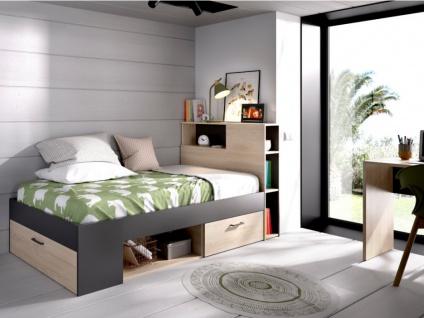 Bett mit Stauraum & Schubladen LEANDRE - 90x190 cm - Eiche & Anthrazit - Vorschau 3