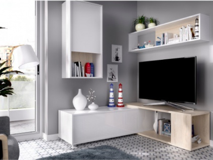 TV-Wand TV-Möbel mit Stauraum GAMBIE - Modulierbar - Weiß/Eichenholzfarben