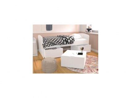 Bett LOUANE - 2 Schubladen & 1 Bettkasten - 90 x 190 cm - Weiß - Vorschau 3