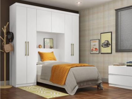 Bettbrücke mit Kleiderschrank und Stauraum ANTERO - 6 Türen - Weiß