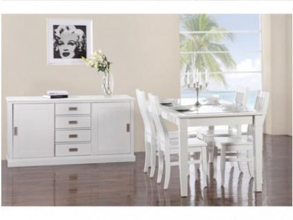 Sparset GERANDE: Essgruppe und Sideboard Holz massiv - Weiß (6tlg.)