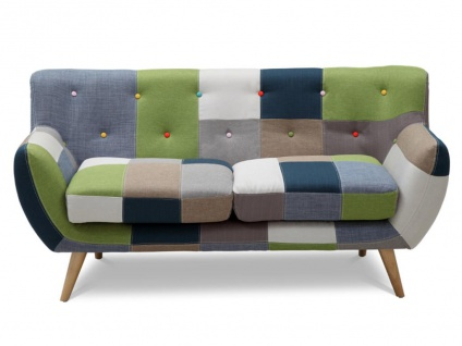 2-Sitzer-Sofa Stoff Serti - Patchwork Grün