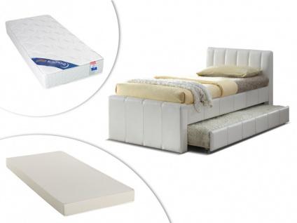 Set Ausziehbett ANDREA + Lattenrost + 2 Matratzen - 2x90x190cm - Weiß