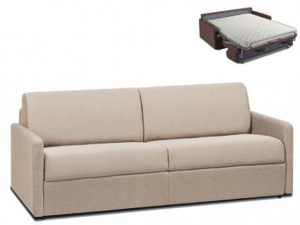 Schlafsofa 4-Sitzer Stoff CALIFE - Beige - Liegefläche: 160 cm - Matratzenhöhe: 14cm