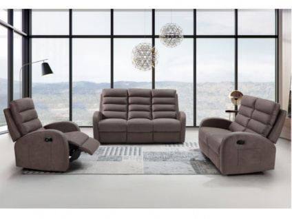 Couchgarnitur mit Relaxfunktion 3+2+1 GIORGIA - Stoff - Braun