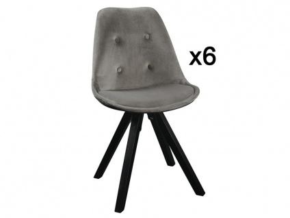 Stuhl 6er-Set Samt ANEYA - Grau - Vorschau 2
