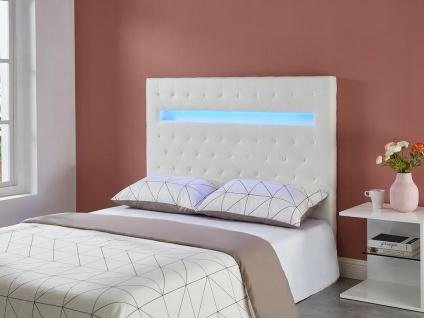 Bett-Kopfteil mit LED-Beleuchtung SUPERNOVA II - 160 cm - Kunstleder - Weiß