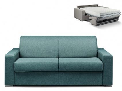 Schlafsofa 3-Sitzer Stoff CALITO - Blau - Liegefläche: 140 cm - Matratzenhöhe: 22cm