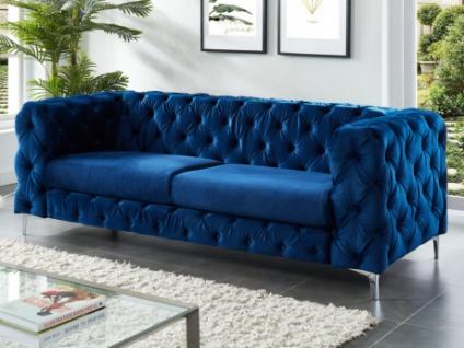 3-Sitzer Chesterfield Sofa Samt FARINO - Blau