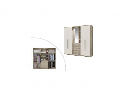 Kleiderschrank ISAK mit Spiegel - 4 Türen - B. 240 cm - Eiche & Elfenbein