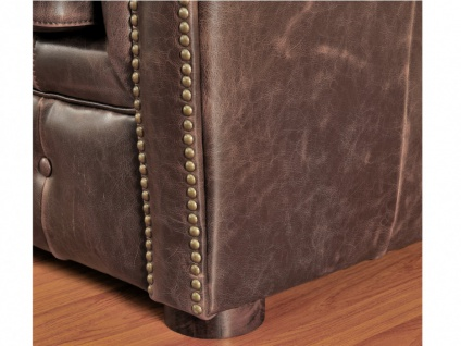Chesterfield Ledersofa 2-Sitzer CLOTAIRE - Vintage Leder - Braun - Vorschau 4