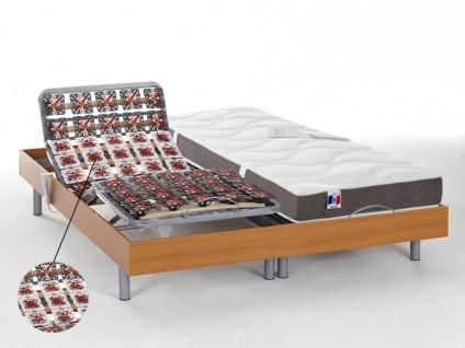 Matratzen elektrischer Lattenrost 2er-Set mit Tellermodulen 100% Latex JUPITER - OKIN-Motoren - Kirschholzfarben - 2x80x200cm