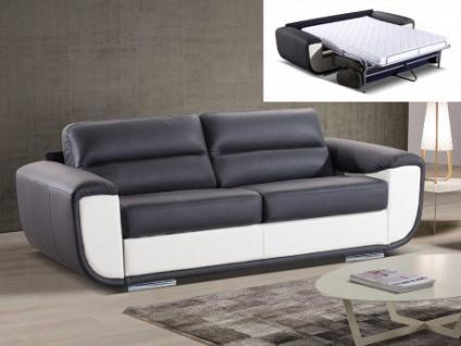 Schlafsofa Leder Express Bettfunktion mit Matratze LAVANI - Schwarz & Weiß