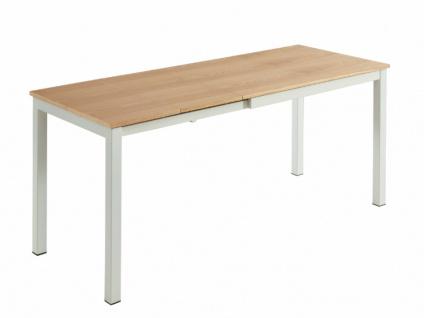 Esstisch ausziehbar AGURA - Holz & Metall - Eiche & Weiß
