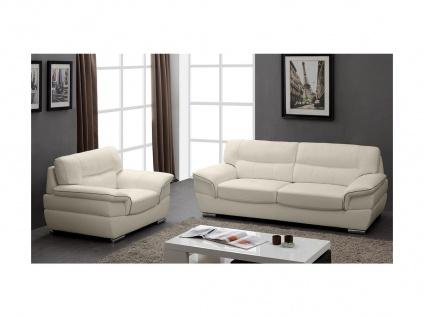 Couchgarnitur Leder 3+1 THIBAULT - Elfenbein