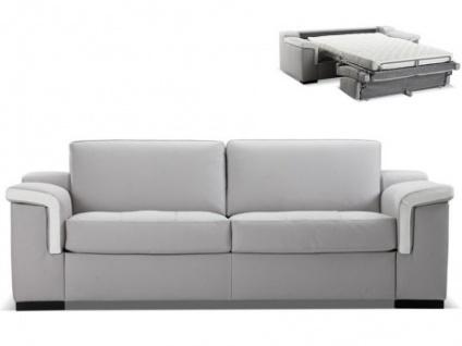 Ledersofa Schlafsofa mit Matratze 3-Sitzer Hippias II - Luxusleder - Grau & Weiß