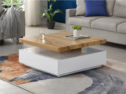 Couchtisch mit drehbarer Tischplatte KYRIA - Weiß & Eiche